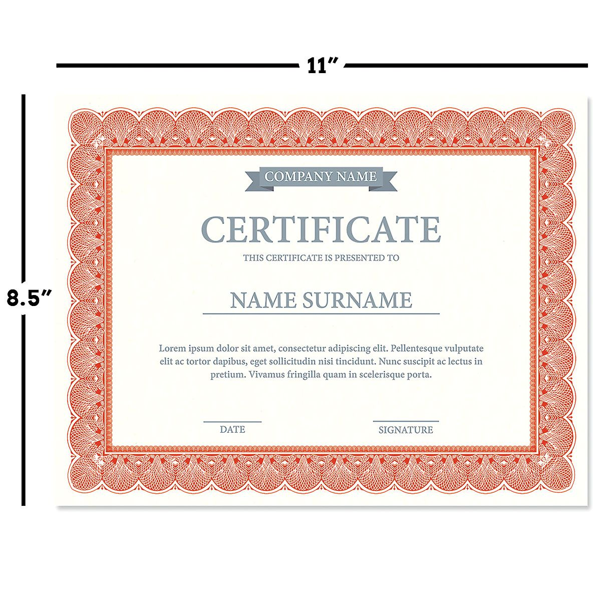 Elite Red Certificate on White Parchment - Set of 50