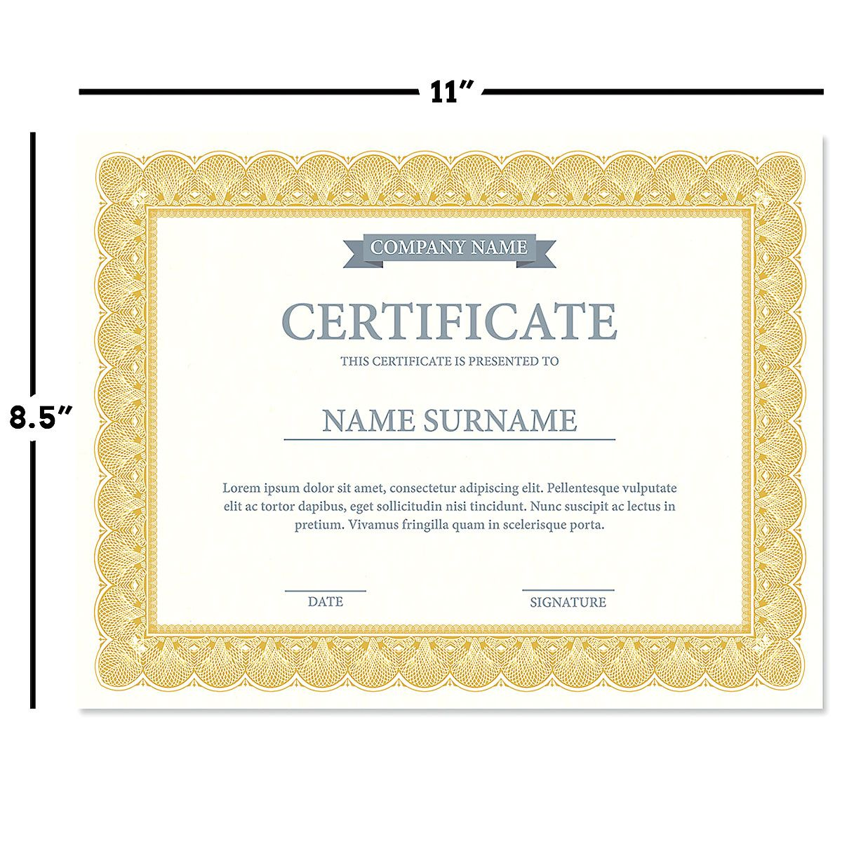 Gold Certificate on White Parchment - Set of 100