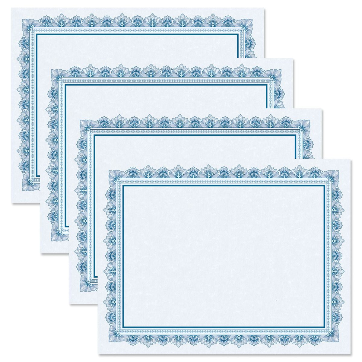 Intricate Blue Certificate Paper on Blue Parchment
