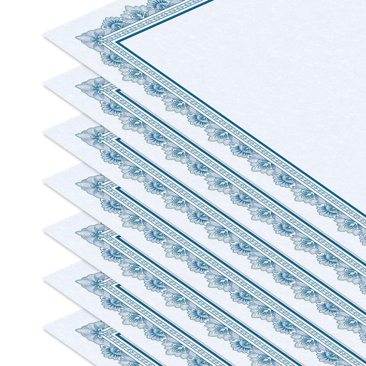 Intricate Blue Certificate on Blue Parchment - Set of 50