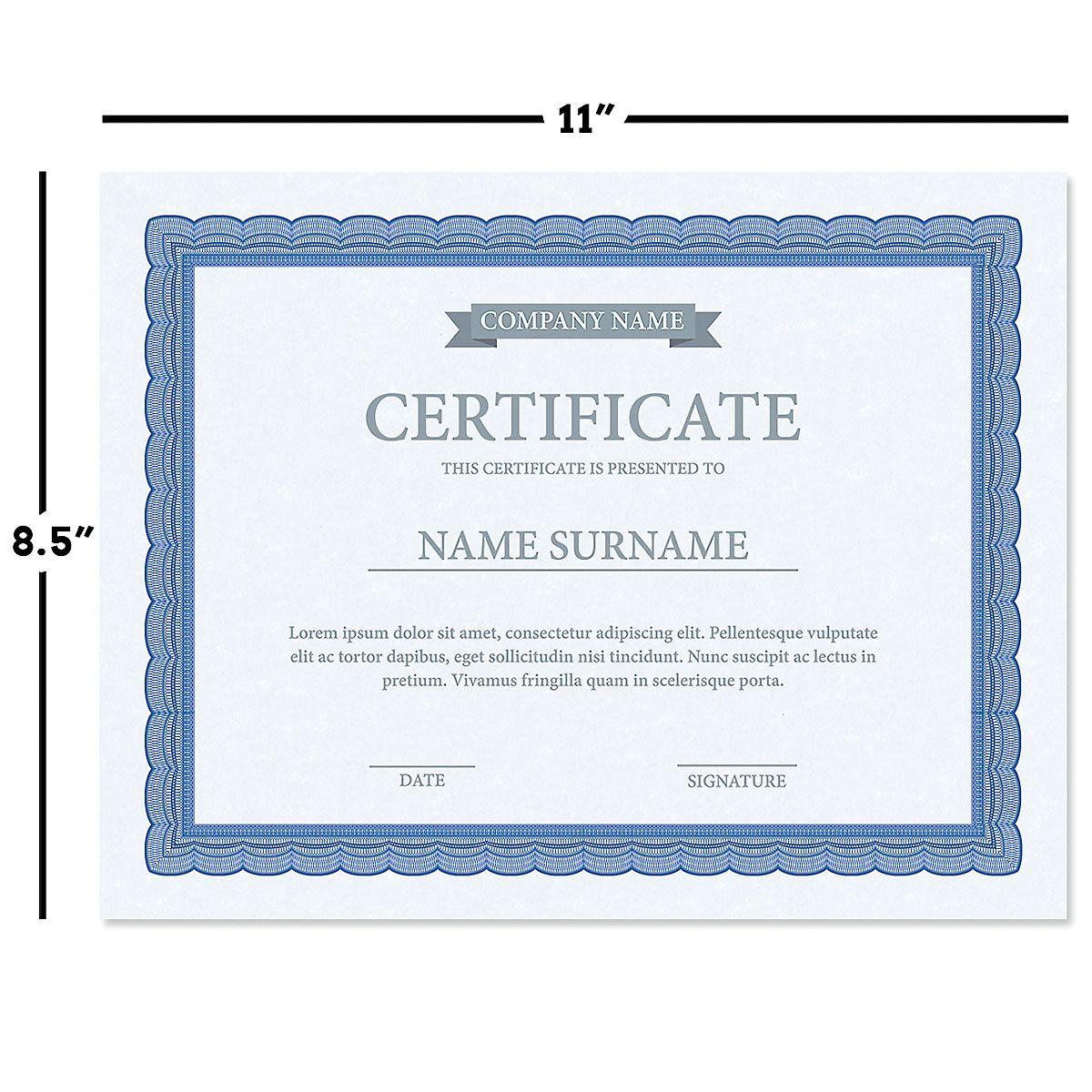 Executive Blue Certificate on Blue Parchment - Set of 50