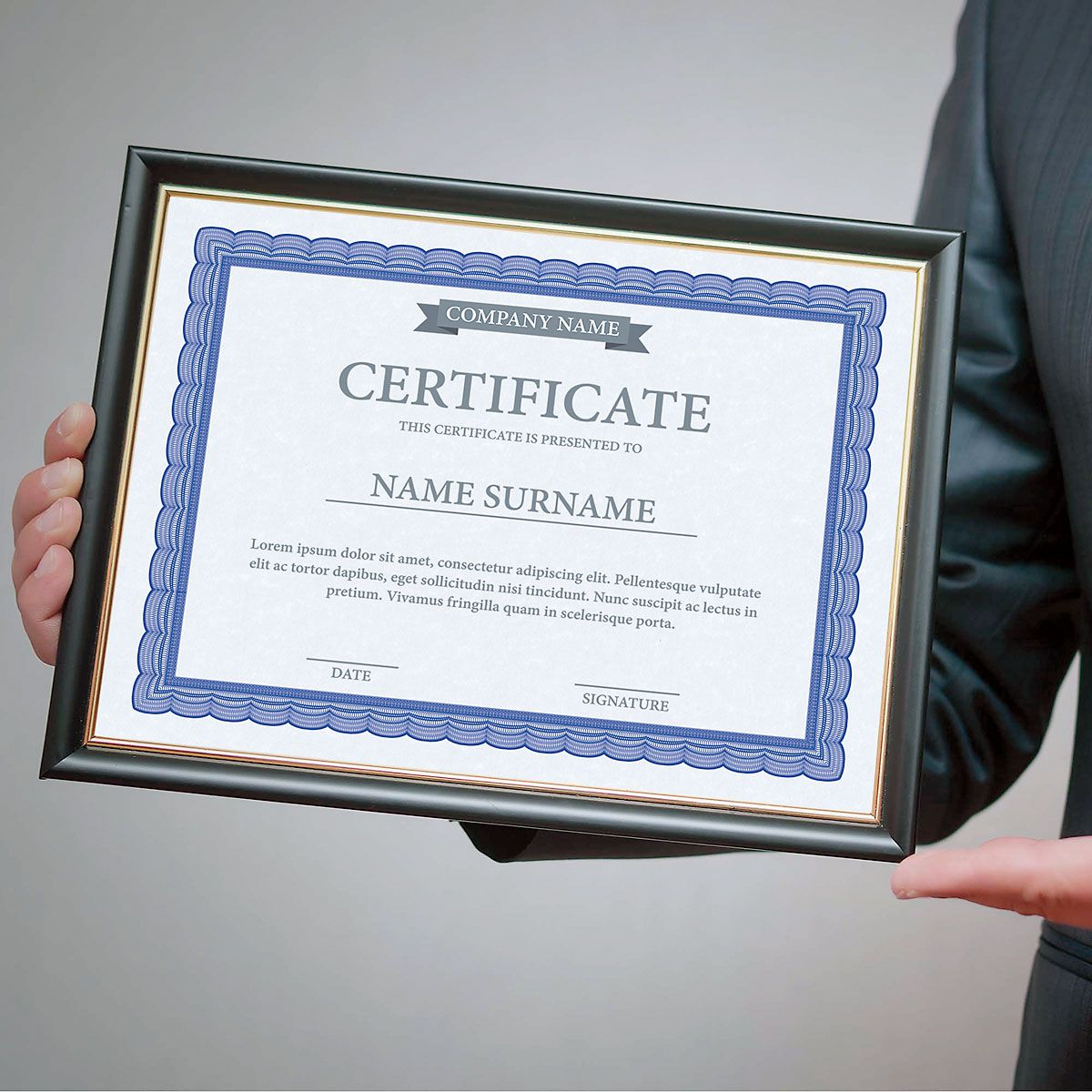 Executive Blue Certificate on Blue Parchment - Set of 100