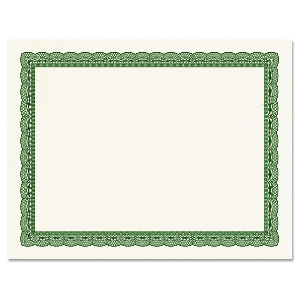 Executive Green Certificate Paper on White Parchment