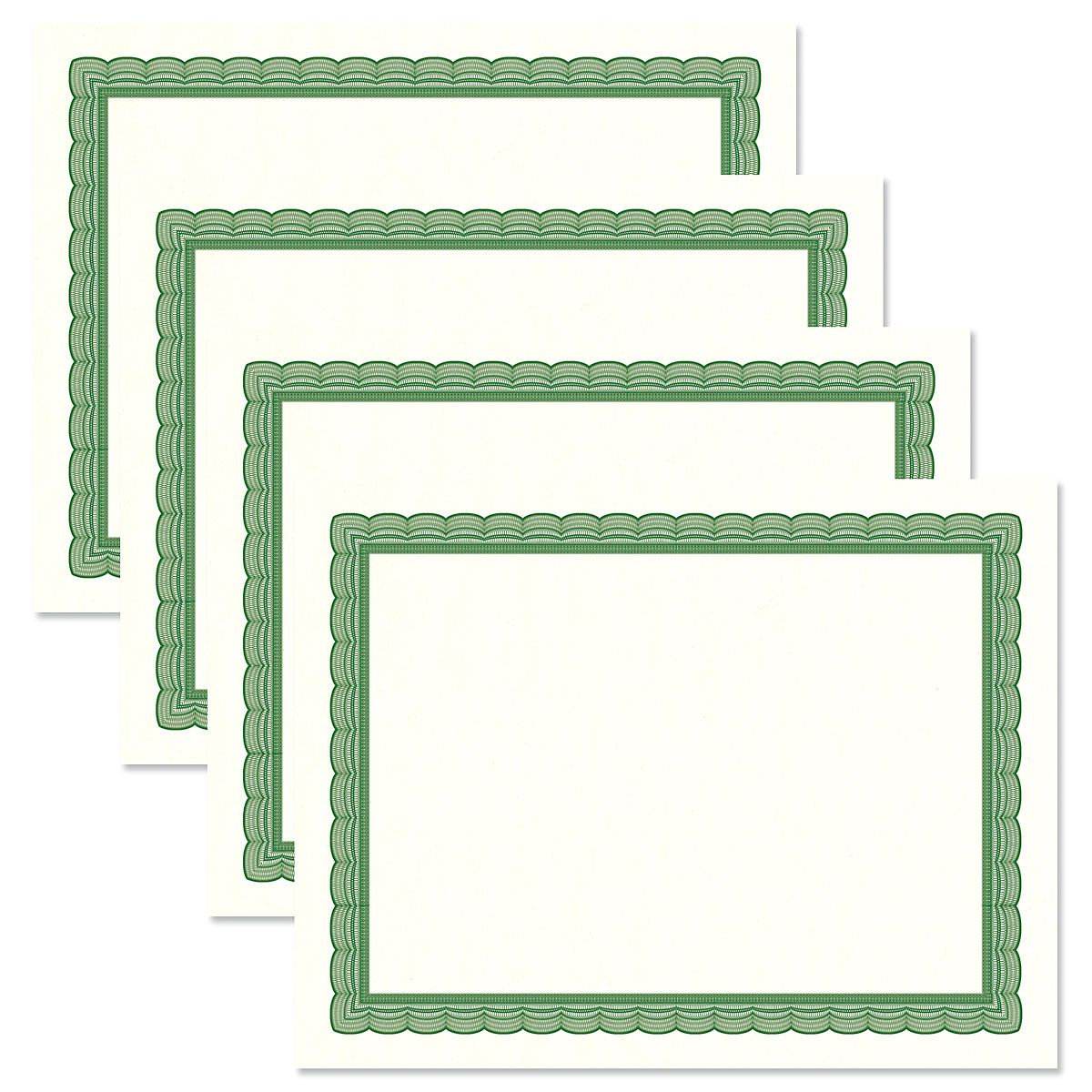 Executive Green Certificate on White Parchment - Set of 25