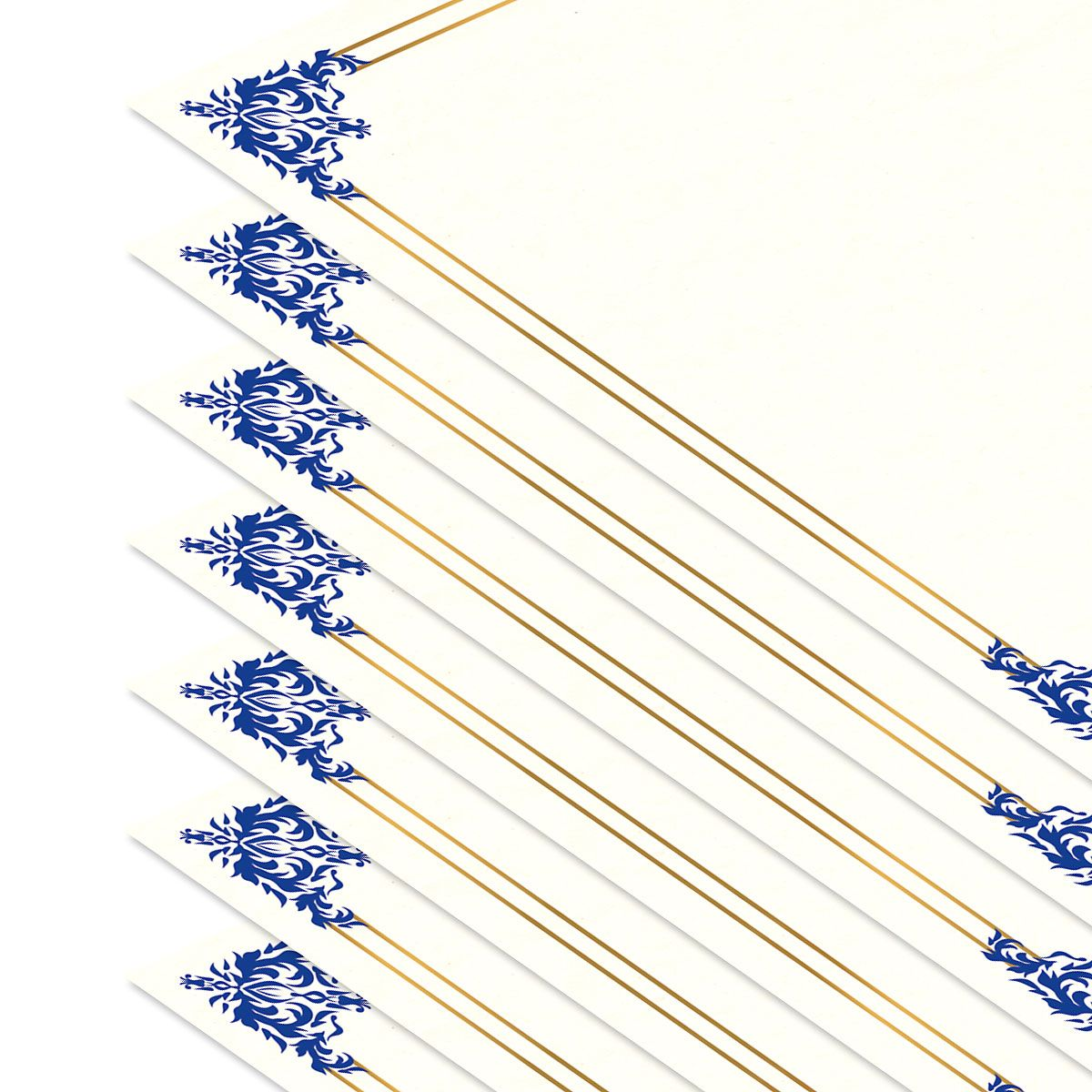 Empire Blue Certificate Paper on White Parchment