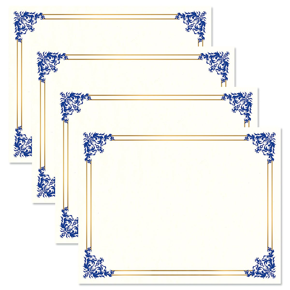 Empire Blue Certificate on White Parchment - Set of 100