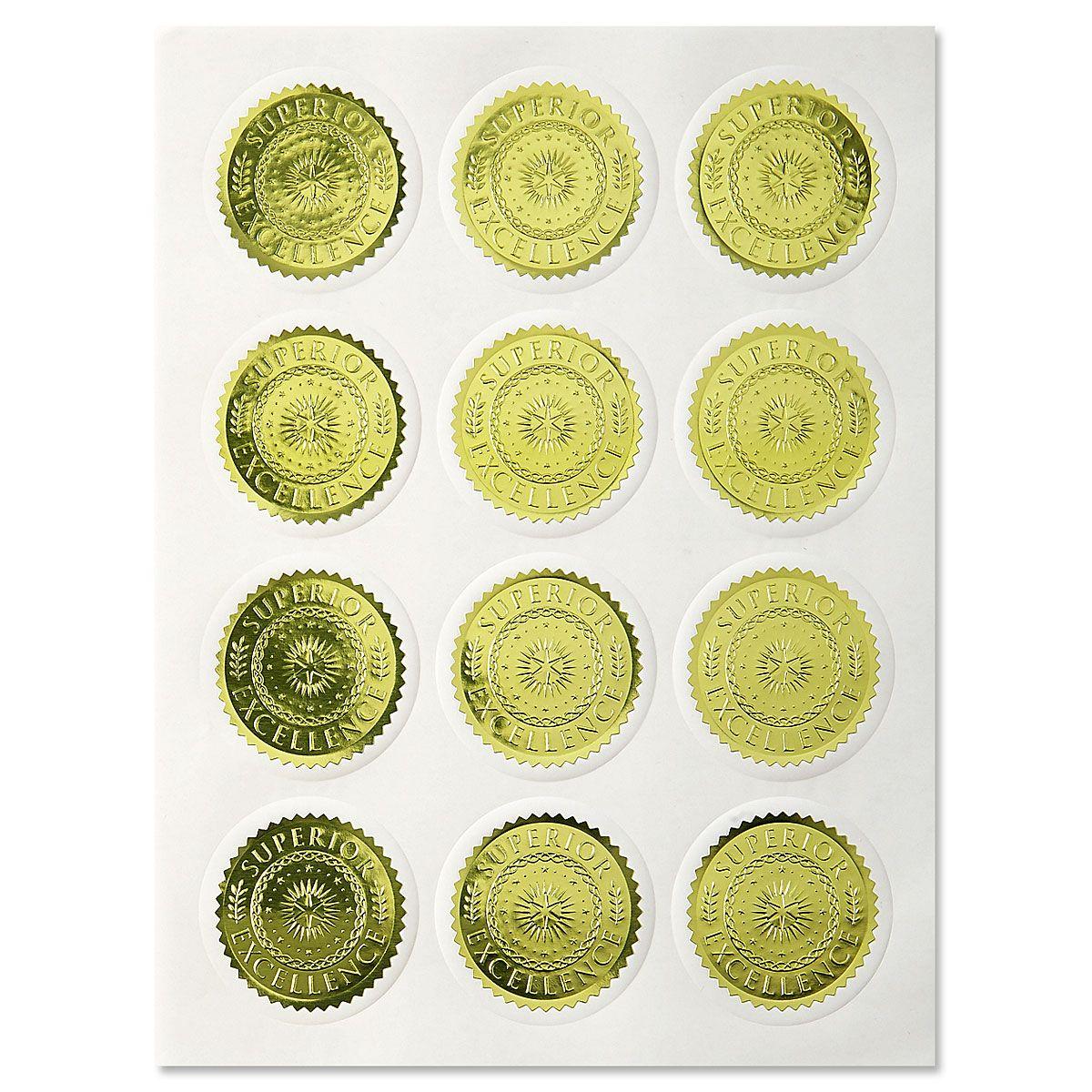 Gold Foil Excellence Certificate Seals