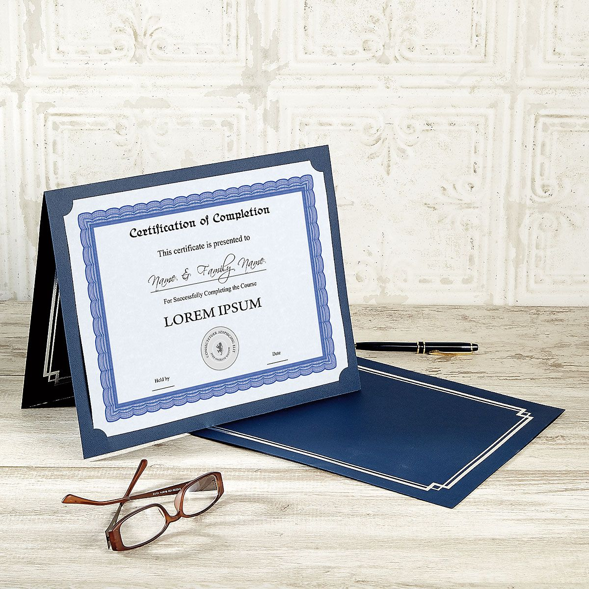 Classic Blue Certificate Jacket with Silver Border