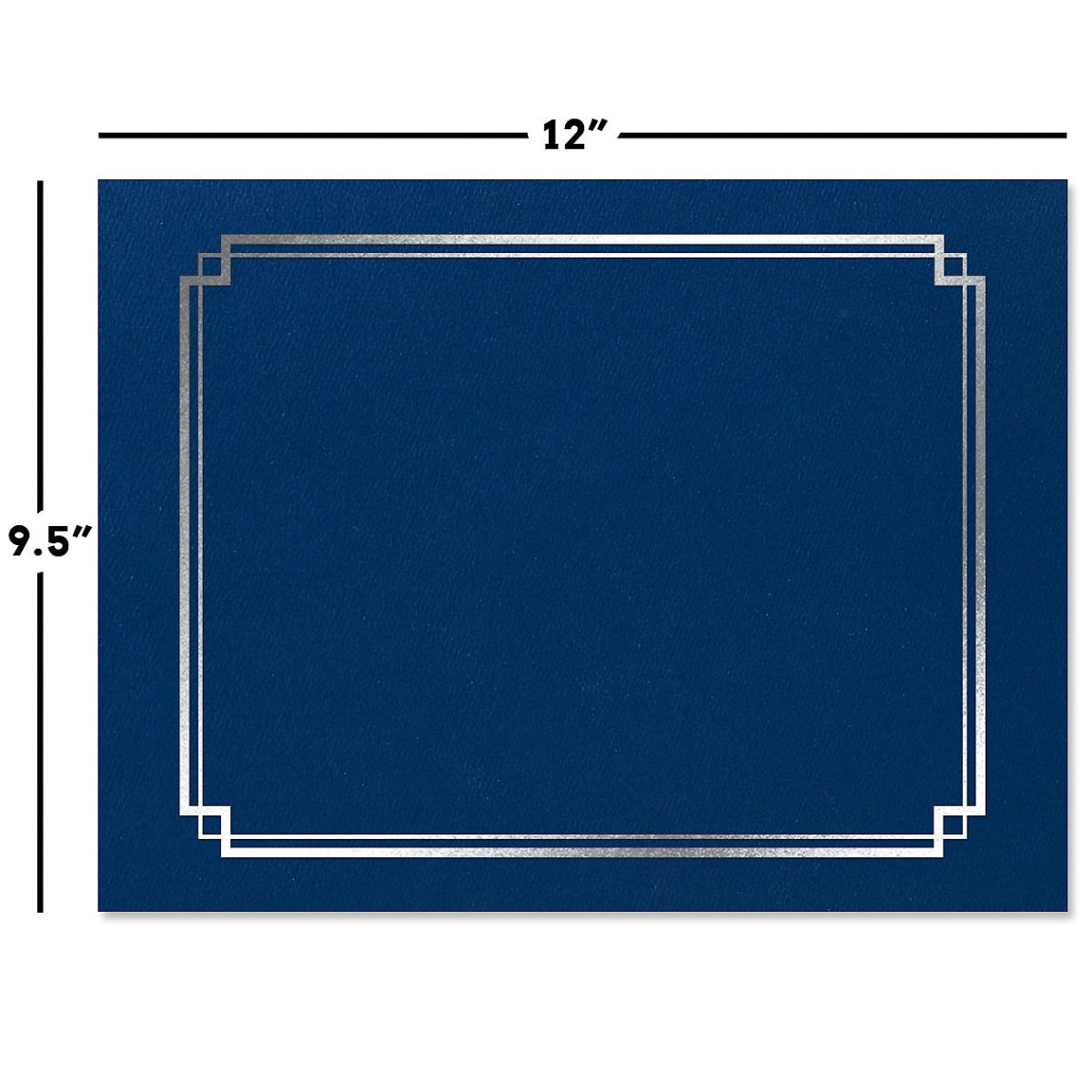 Classic Blue Certificate Folder with Silver Border - Set of 25