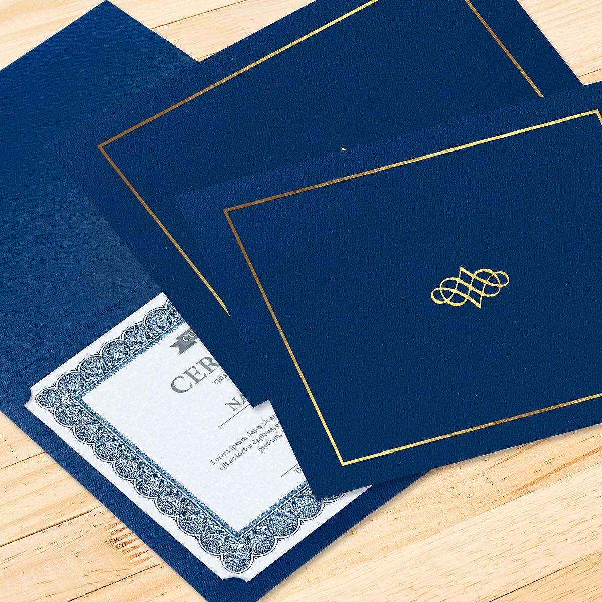 Ornate Blue Certificate Jacket with Gold Border/Crest