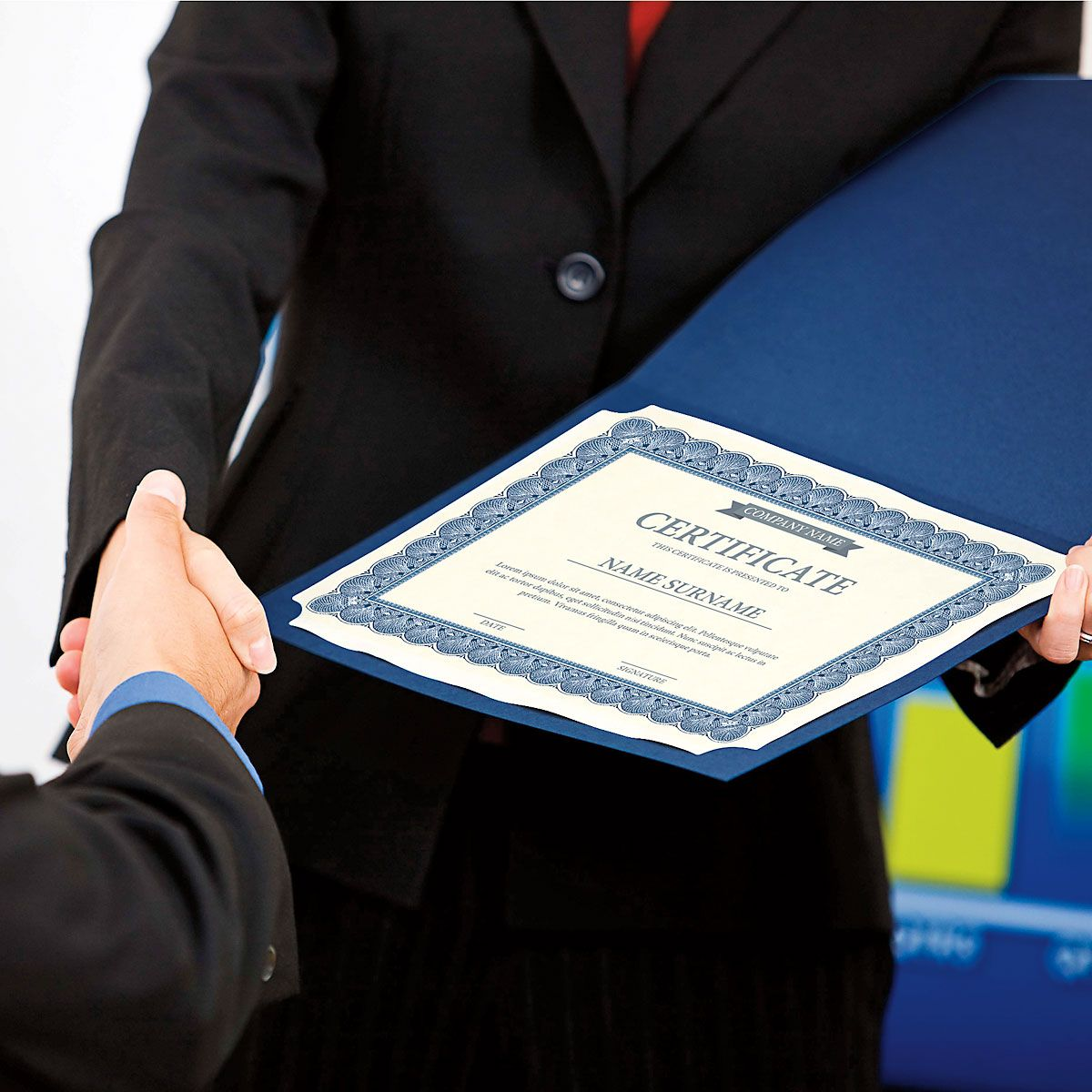 Ornate Blue Certificate Folder with Gold Border/Crest - Set of 25