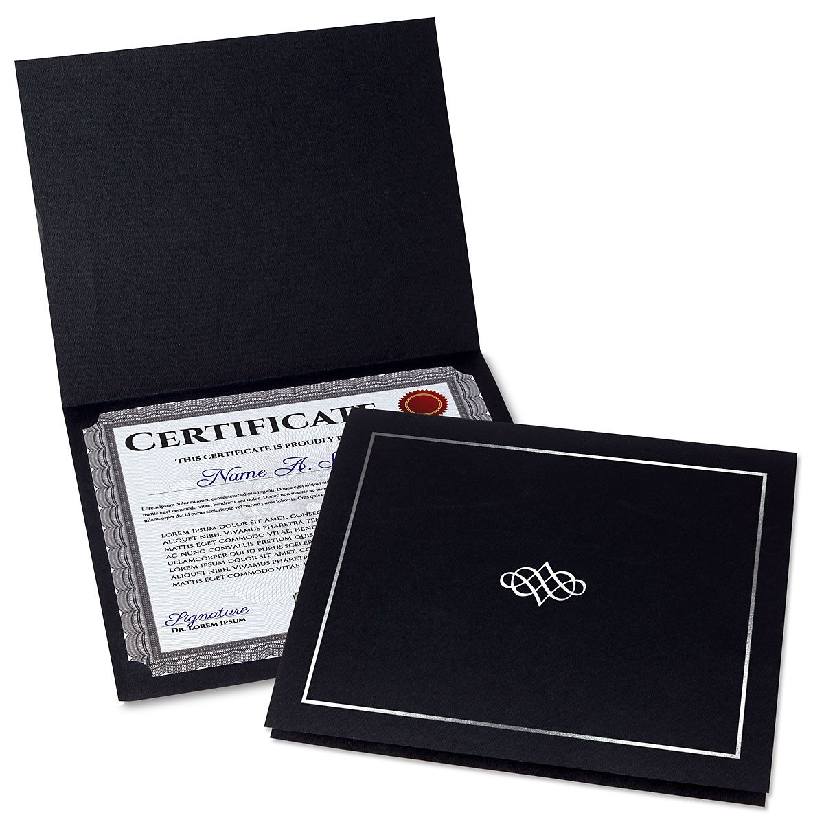 Ornate Black Certificate Folder with Silver Border/Crest - Set of 25