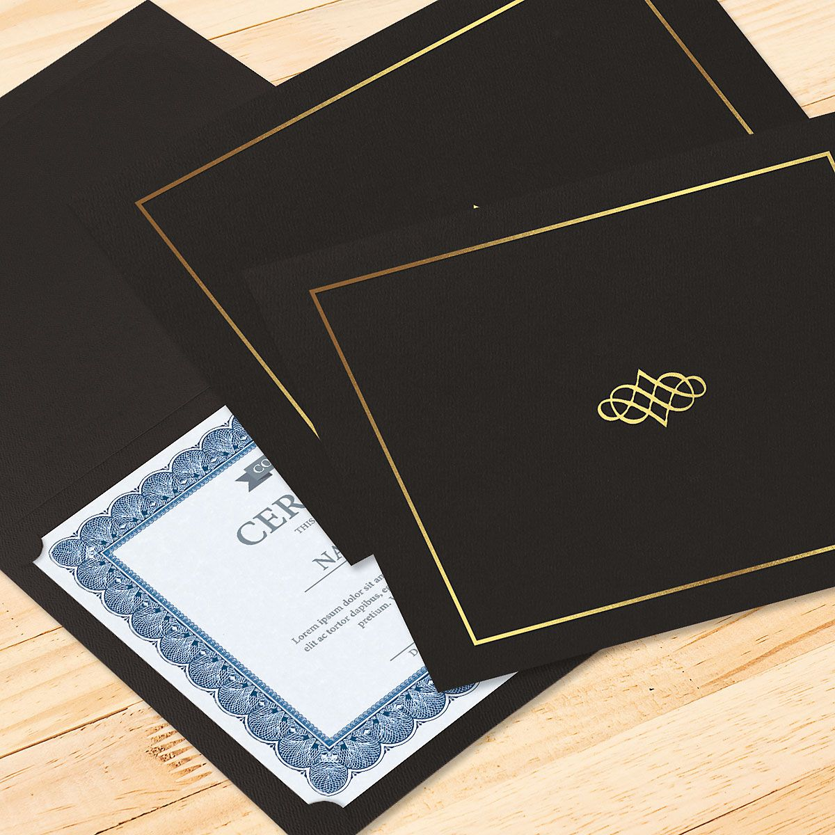 Ornate Black Certificate Folder with Gold Border/Crest - Set of 25