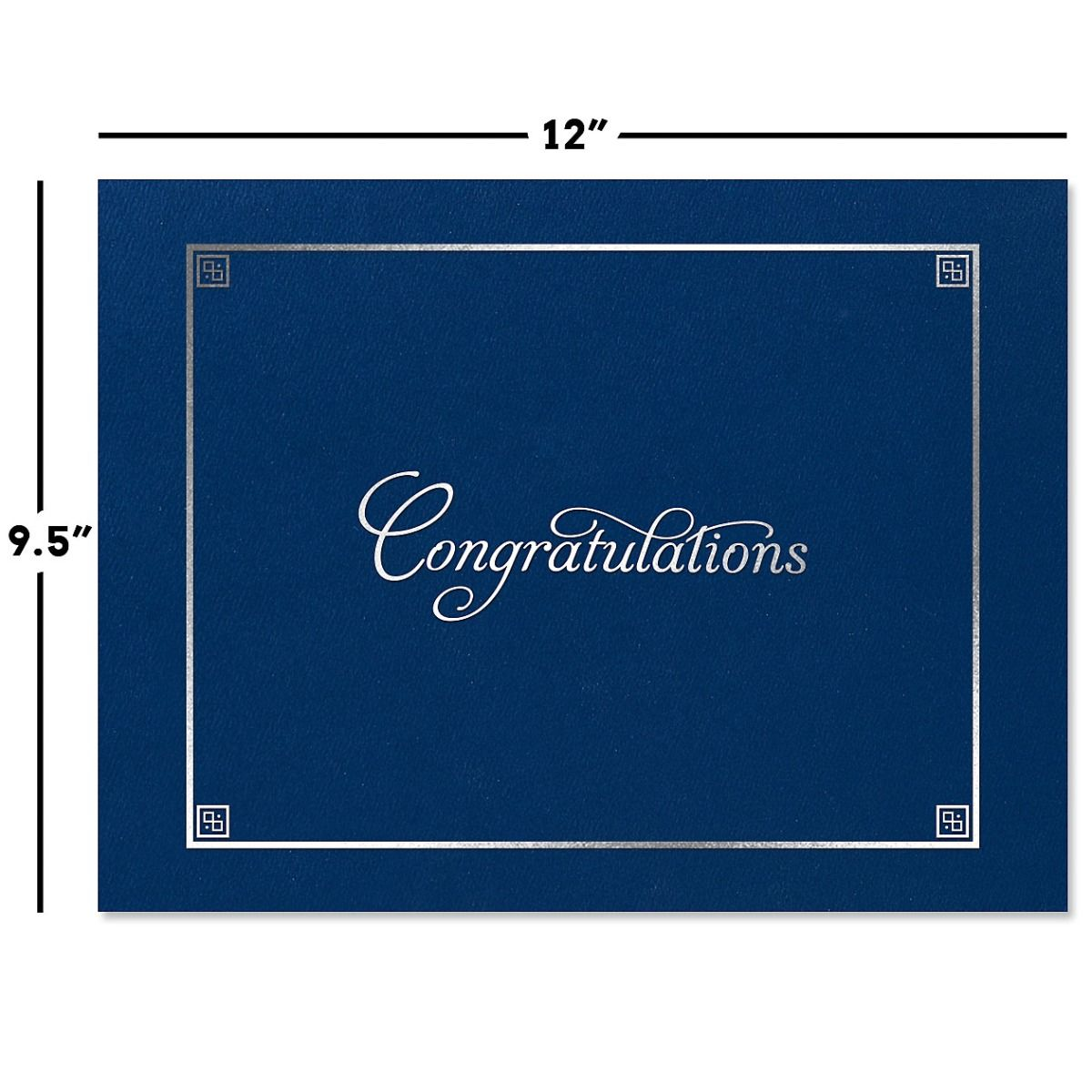 Congratulations Blue Certificate Jacket with Silver Border