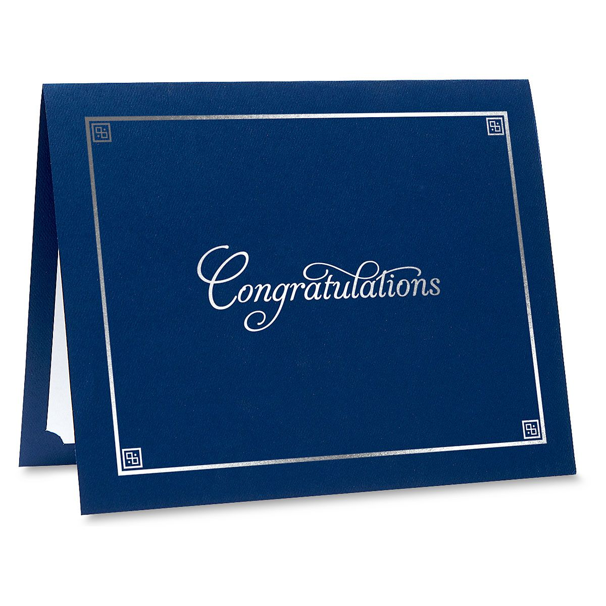 Congratulations Blue Certificate Folder with Silver Border - Set of 25