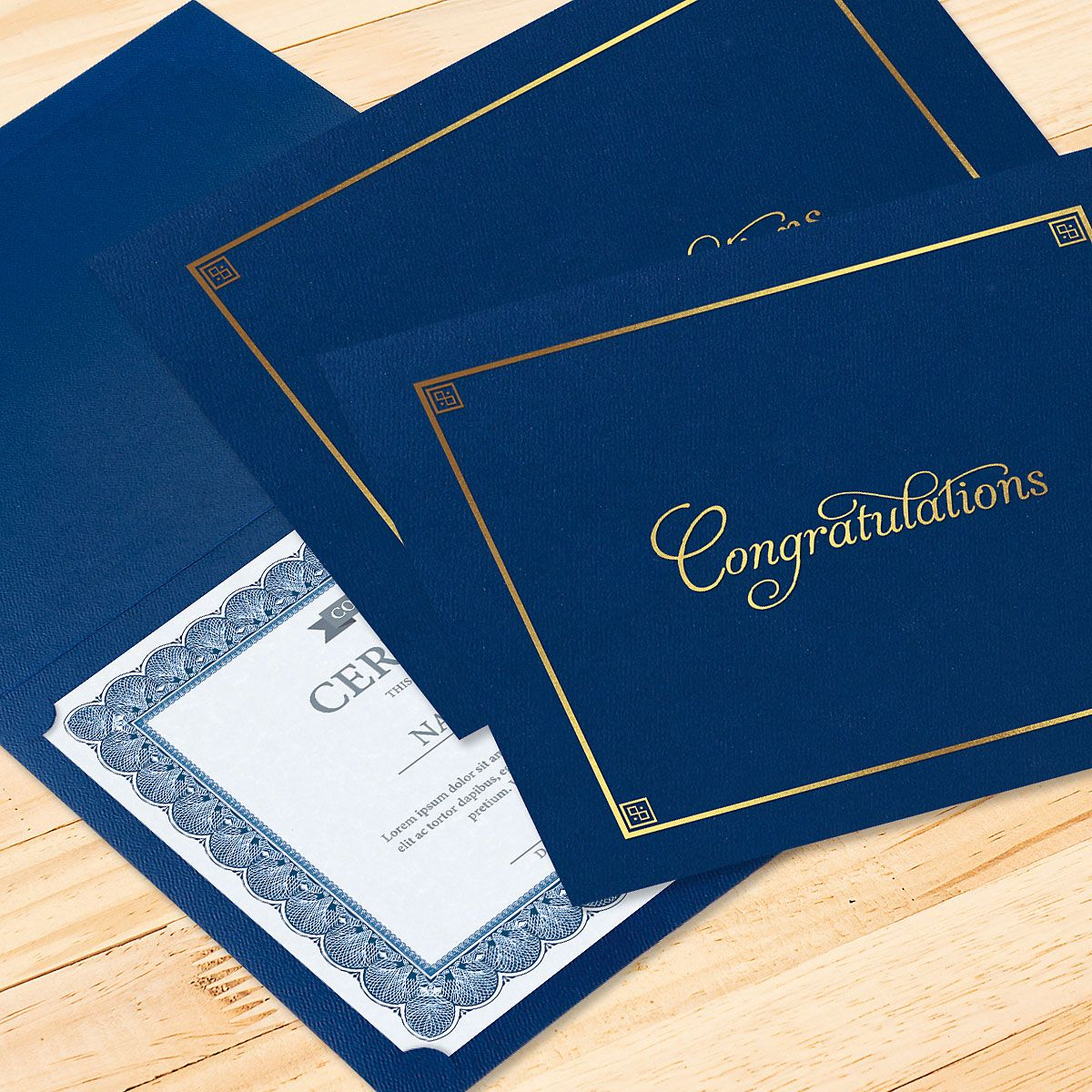 Congratulations Blue Certificate Folder with Gold Border - Set of 25