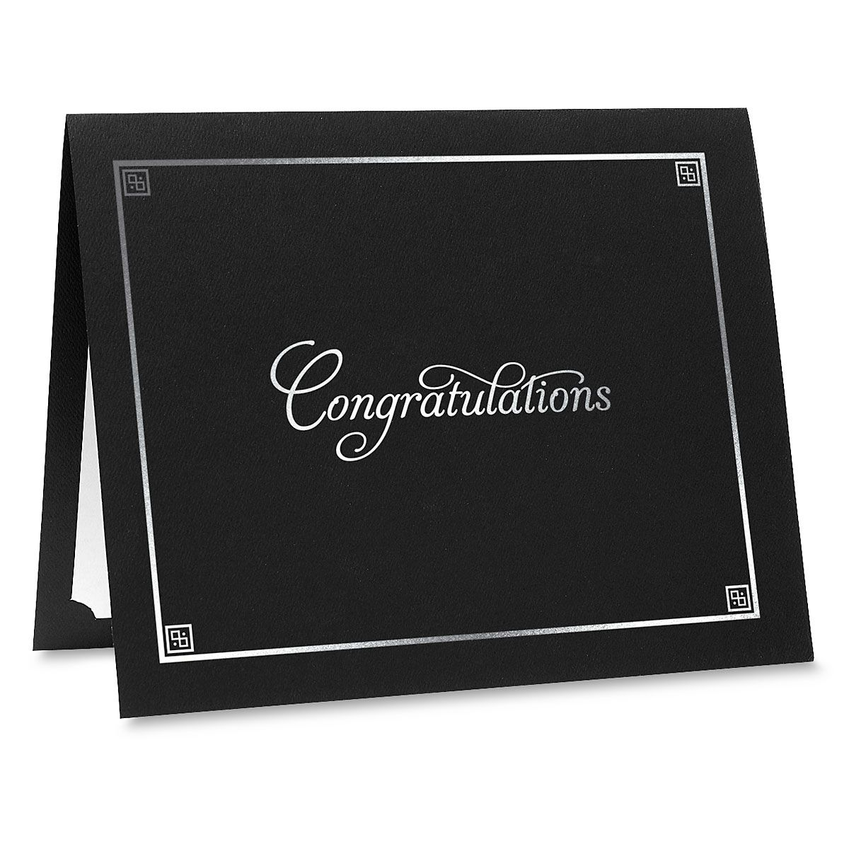 Congratulations Black Certificate Folder with Silver Border - Set of 25