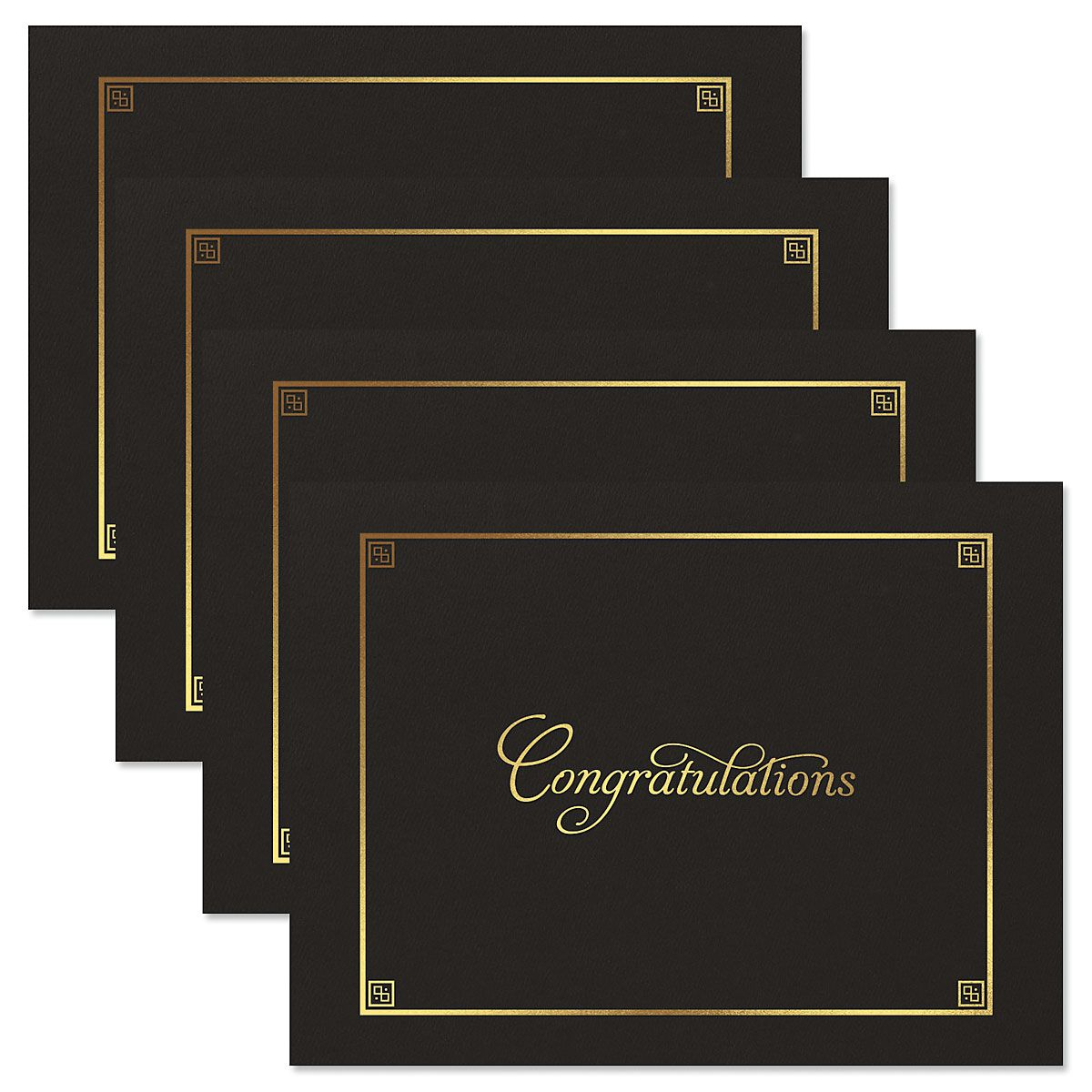Congratulations Black Certificate Jacket with Gold Border