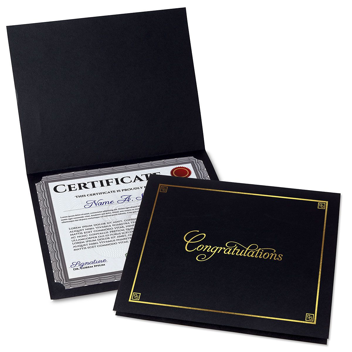 Congratulations Black Certificate Folder with Gold Border - Set of 25