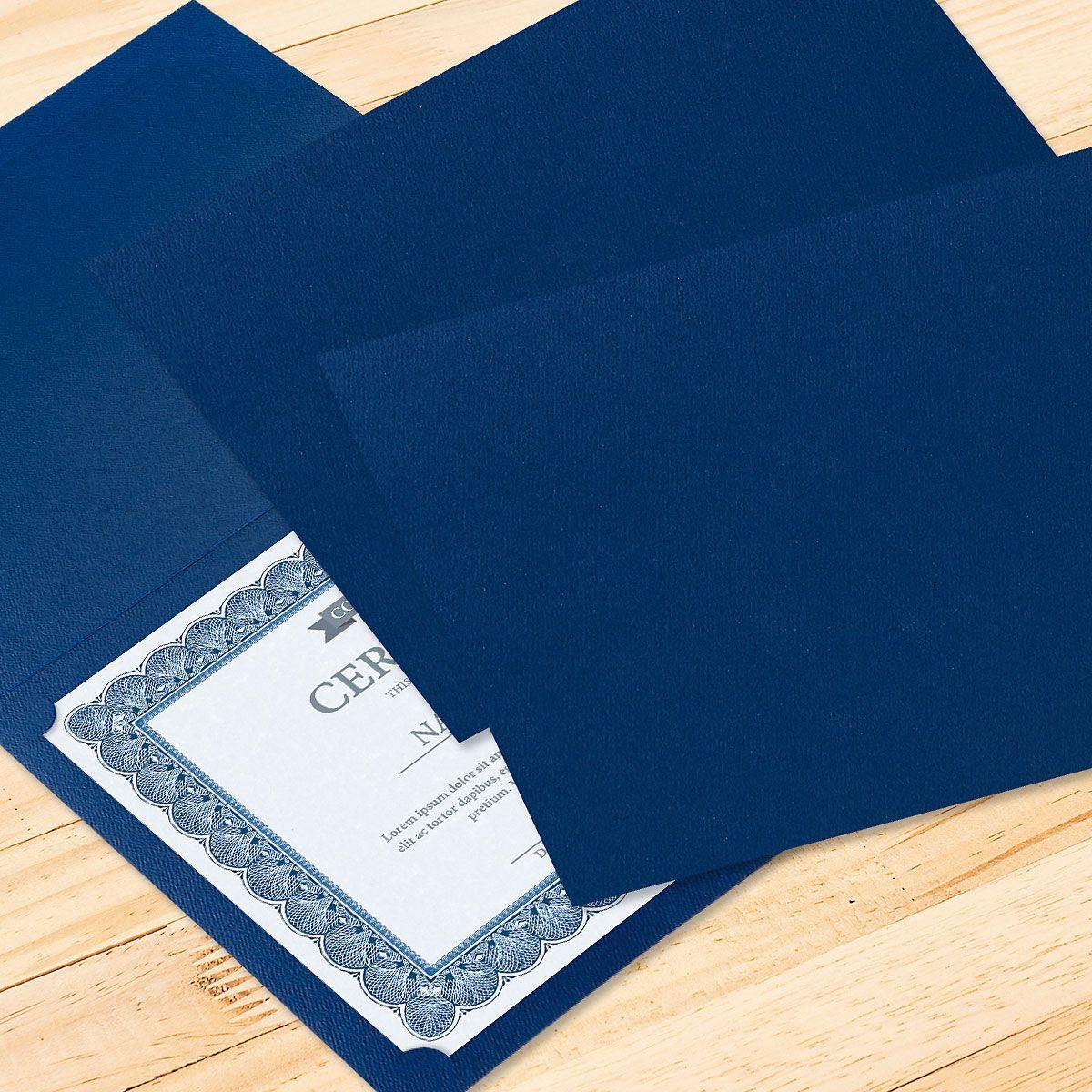 Plain Blue Certificate Folder - Set of 10
