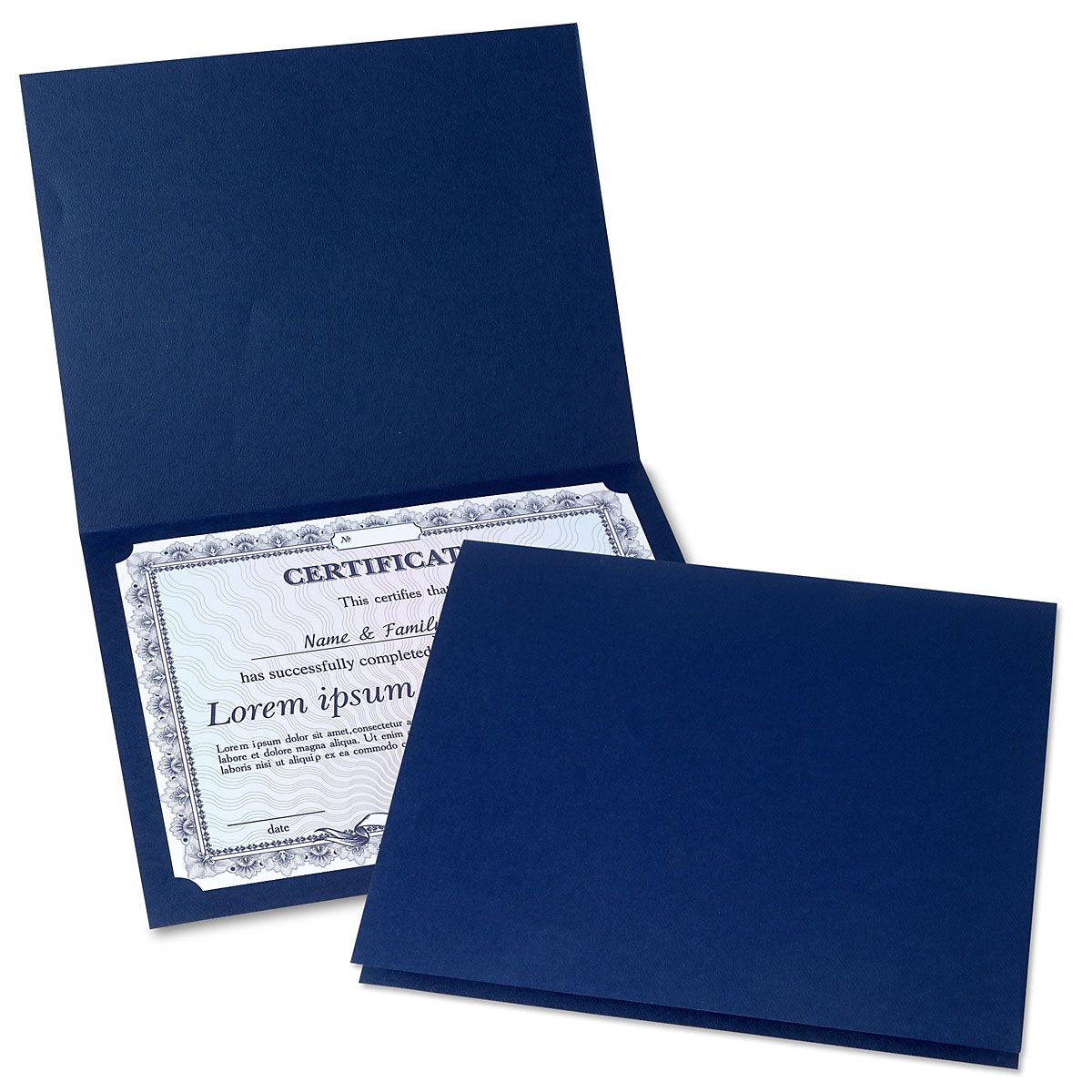 Plain Blue Certificate Folder - Set of 25