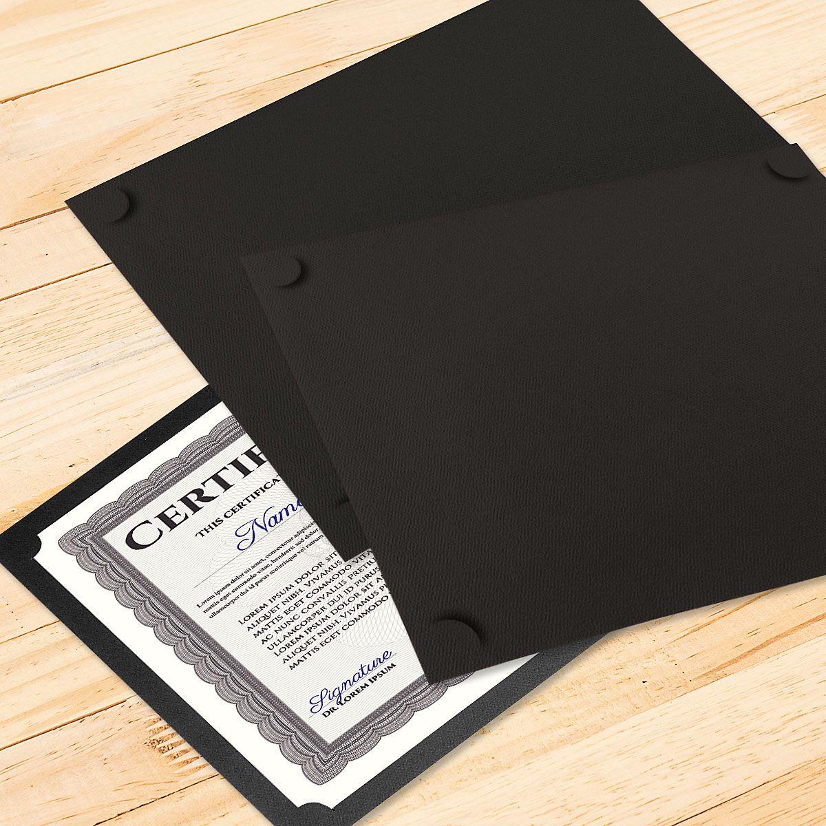 Plain Black Certificate Holder - Set of 10