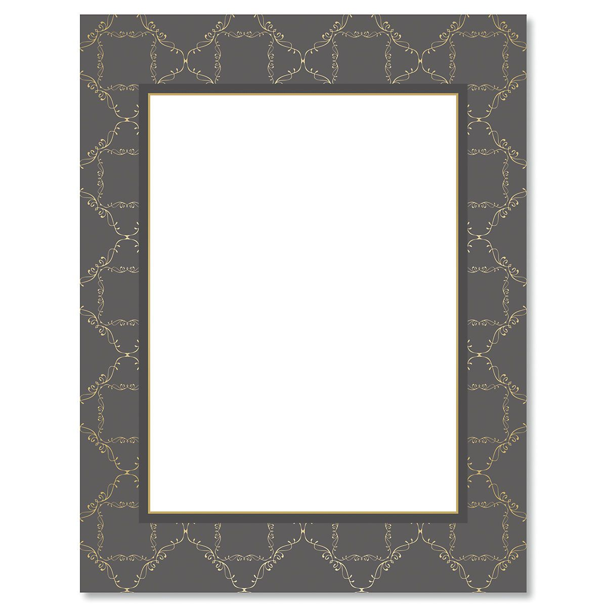 Charcoal Damask Frame Letter Papers