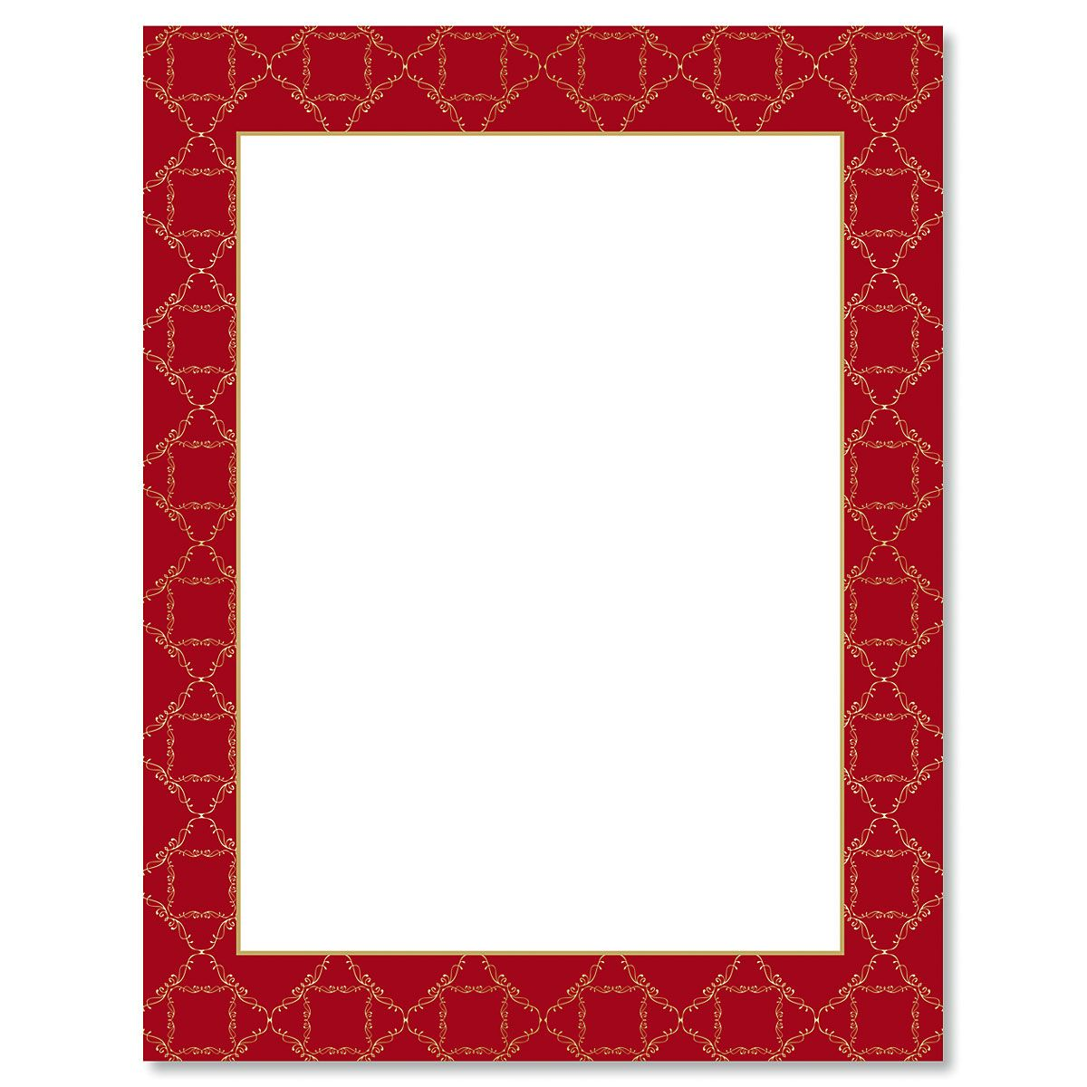 Red Damask Frame Letter Papers
