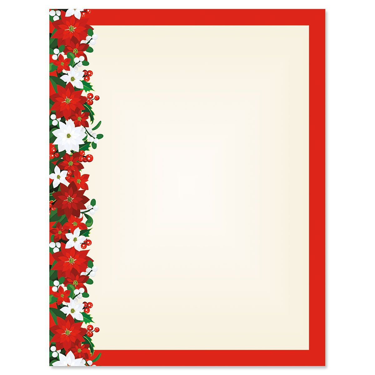 Poinsettia Filigree Letter Papers