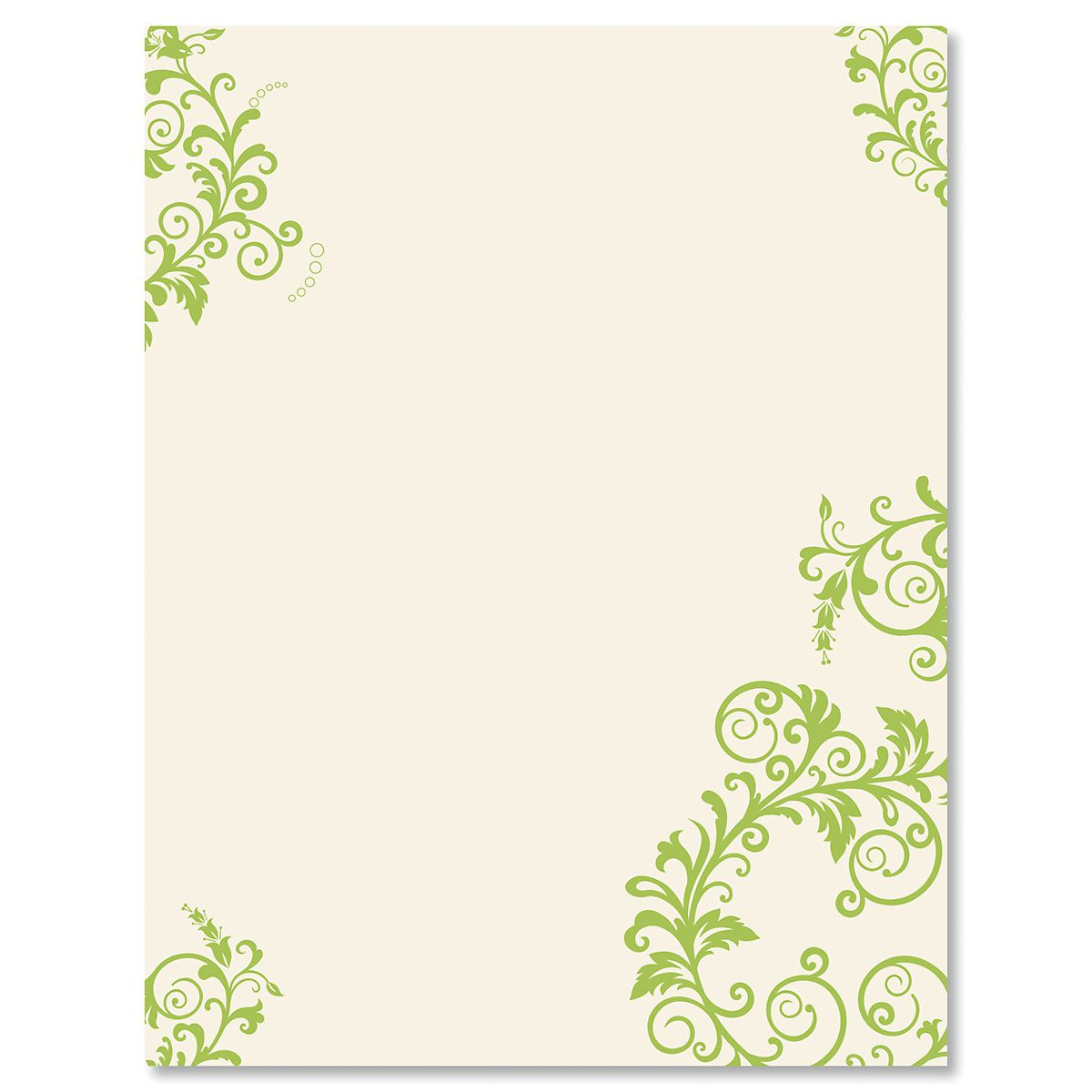 Spring Green Flourish Letter Papers