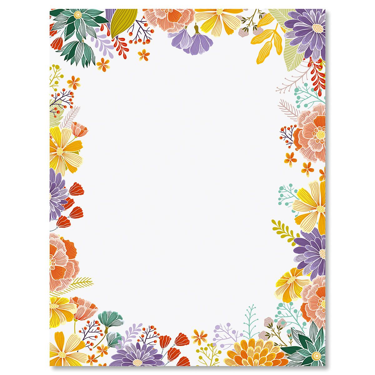 Wildflowers Frame Letter Papers