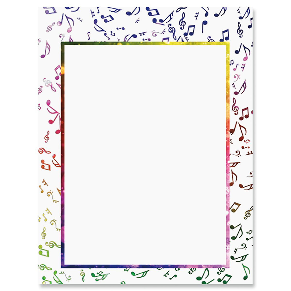 Colorful Music Notes Letter Papers