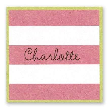 Pink & White Stripes Sticker FEATURES & DESCRIPTION Very Light Paper Weight Size: 2.5  x  2.5  (H x W) Font(s) Shown: Sevillana   Font Color(s) Shown:   Black This square sticker features pink and white stripes and a lime green border.