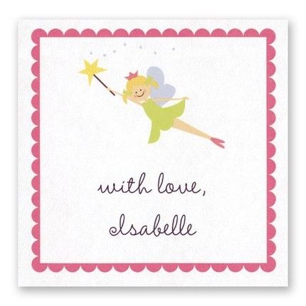 Fairy Princess Sticker FEATURES & DESCRIPTION Very Light Paper Weight Size: 2.5  x 2.5  (H x W) Font(s) Shown: Sevillana Font Color(s) Shown: Black This square sticker with a pink scalloped border features a fairy princess at the top.Colors in the design on the sticker include: lime green, black, white, tan, yellow, light blue and pink.