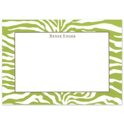 Green Zebra Flat Card