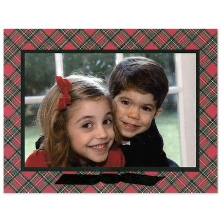 Red Plaid & Velvet Ribbon Mounted Photo Card