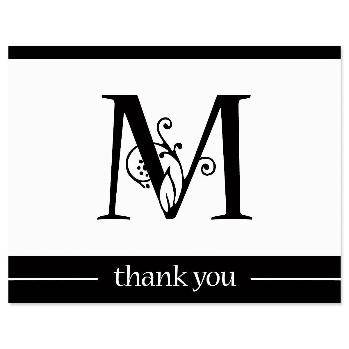 Formal Initial Thank You Note Cards