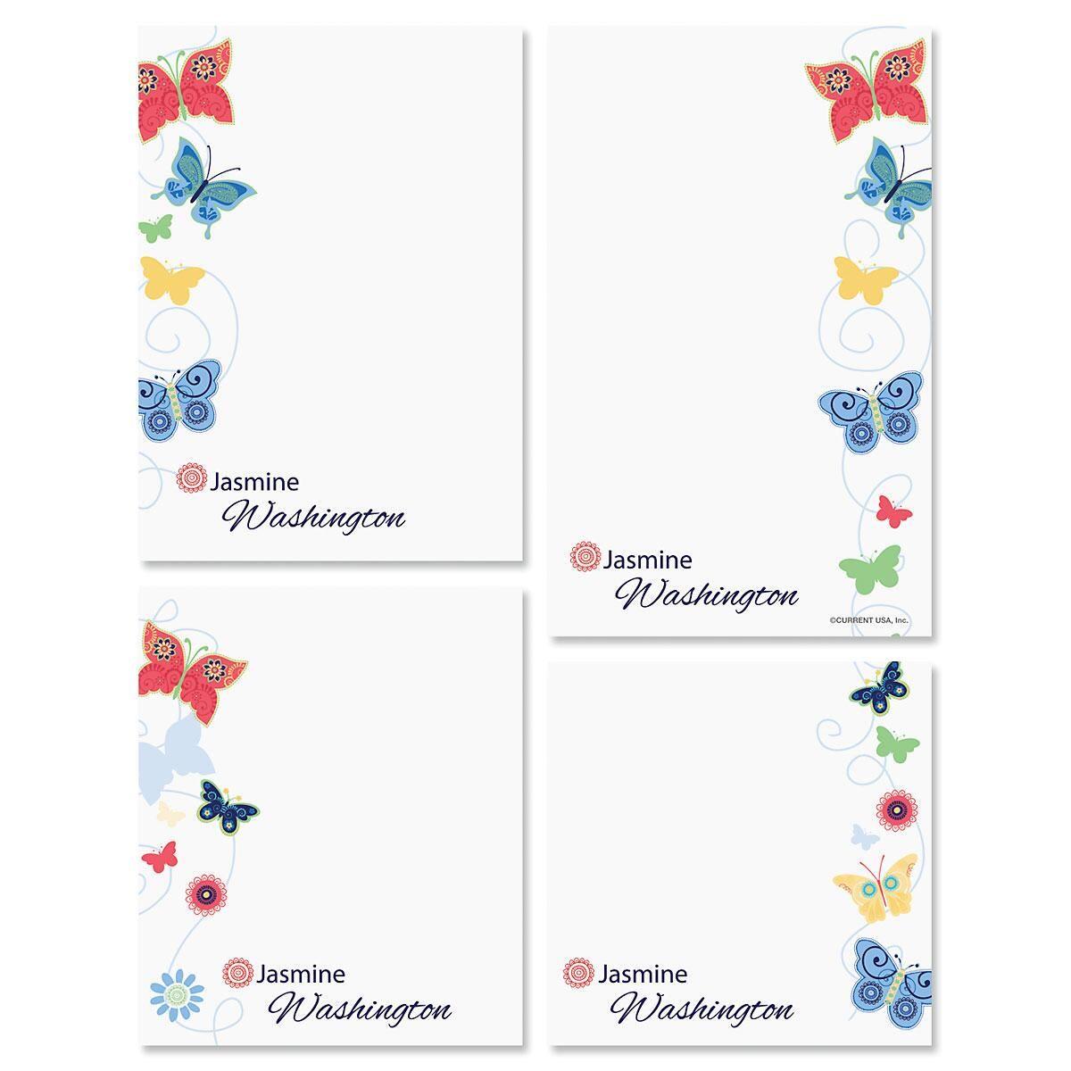 Delicate Butterflies Note Pad Set