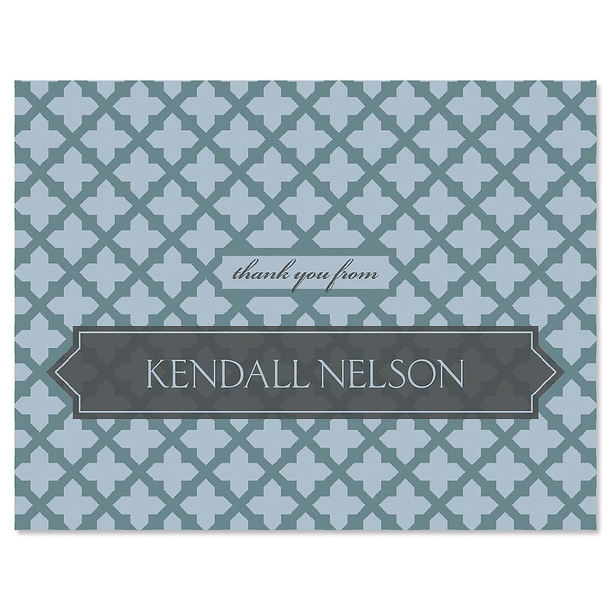 Quatrefoil Thank You Note Cards