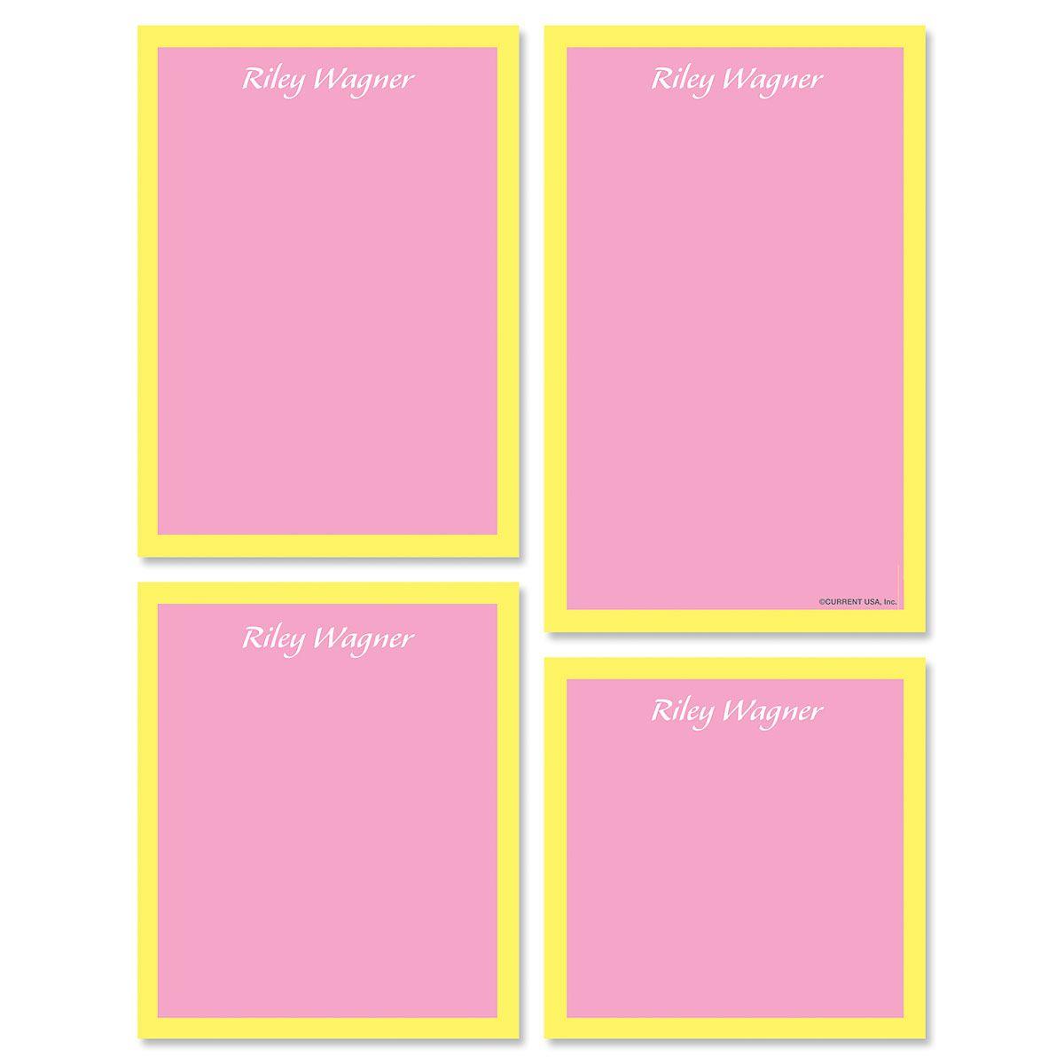 Bordered Hues Note Pad Set-Pink-609260A