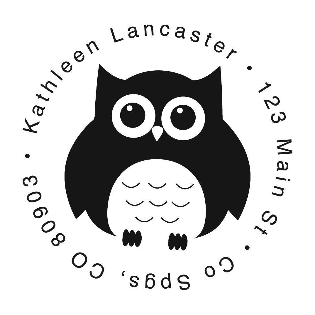 Owl Round Custom Address Stamp