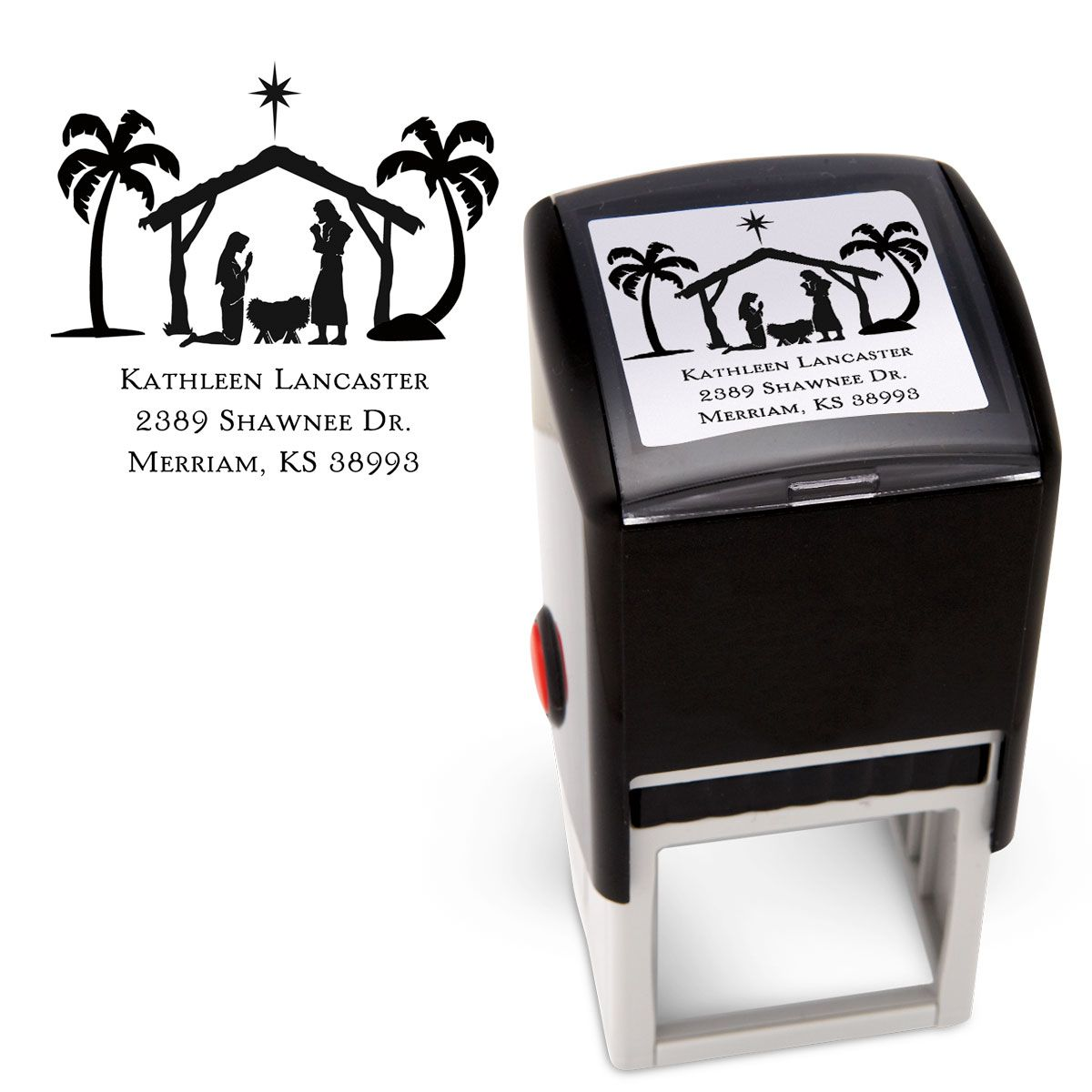 Nativity Square Custom Address Stamp
