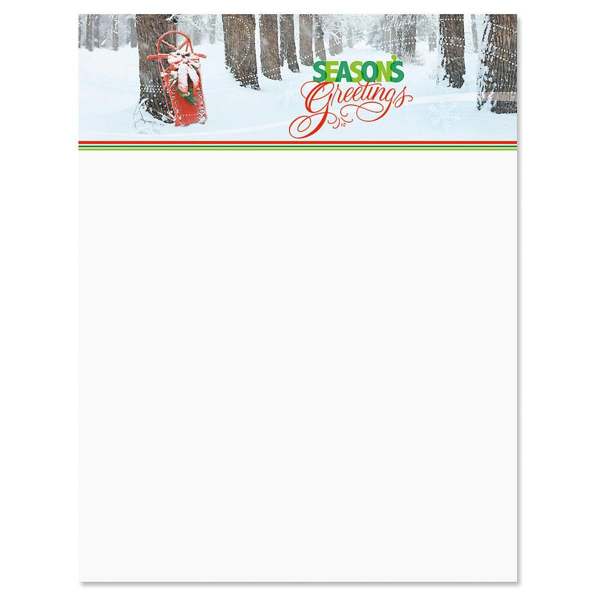 Sled in Trees Letter Papers