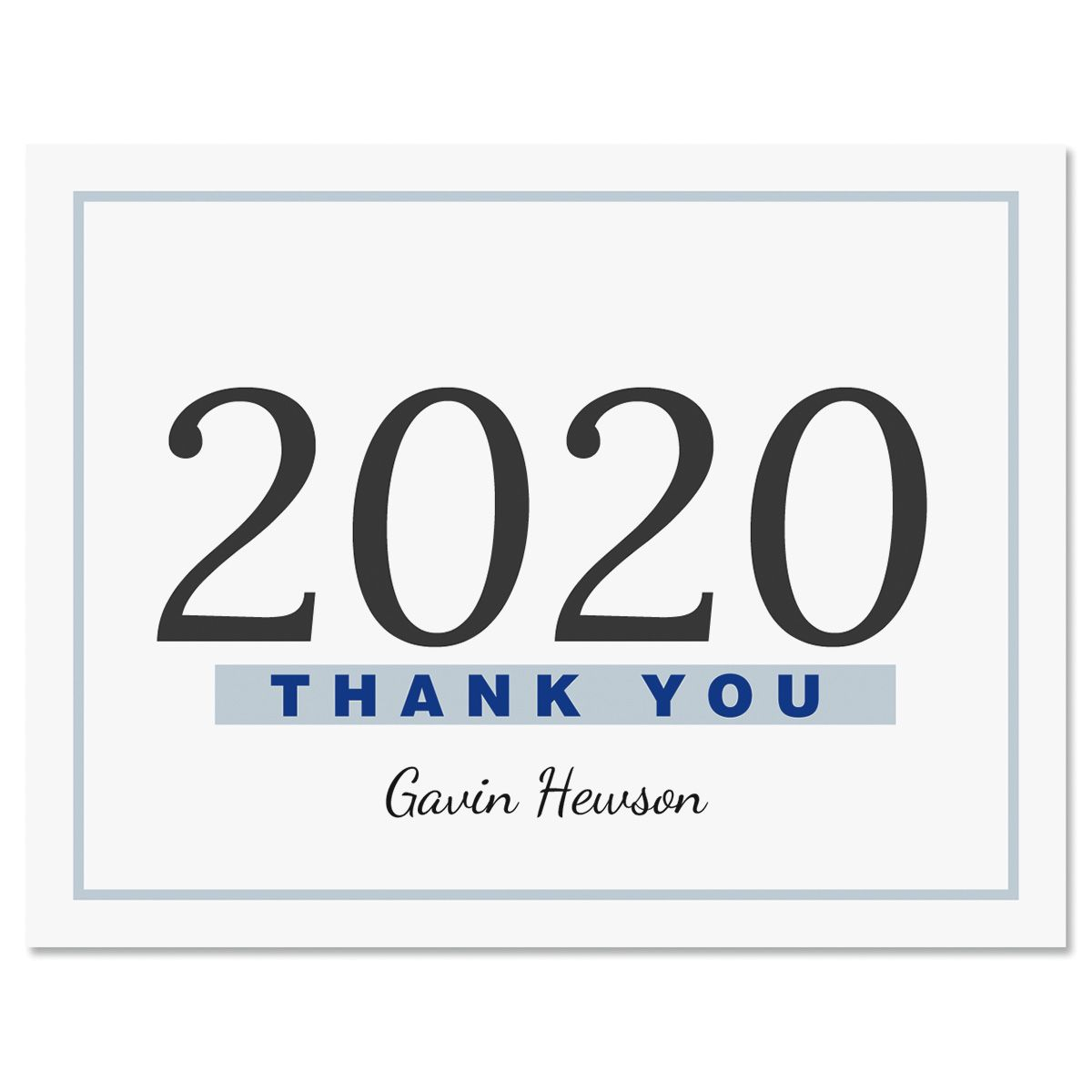 Blue Border Graduation Thank You Note Cards