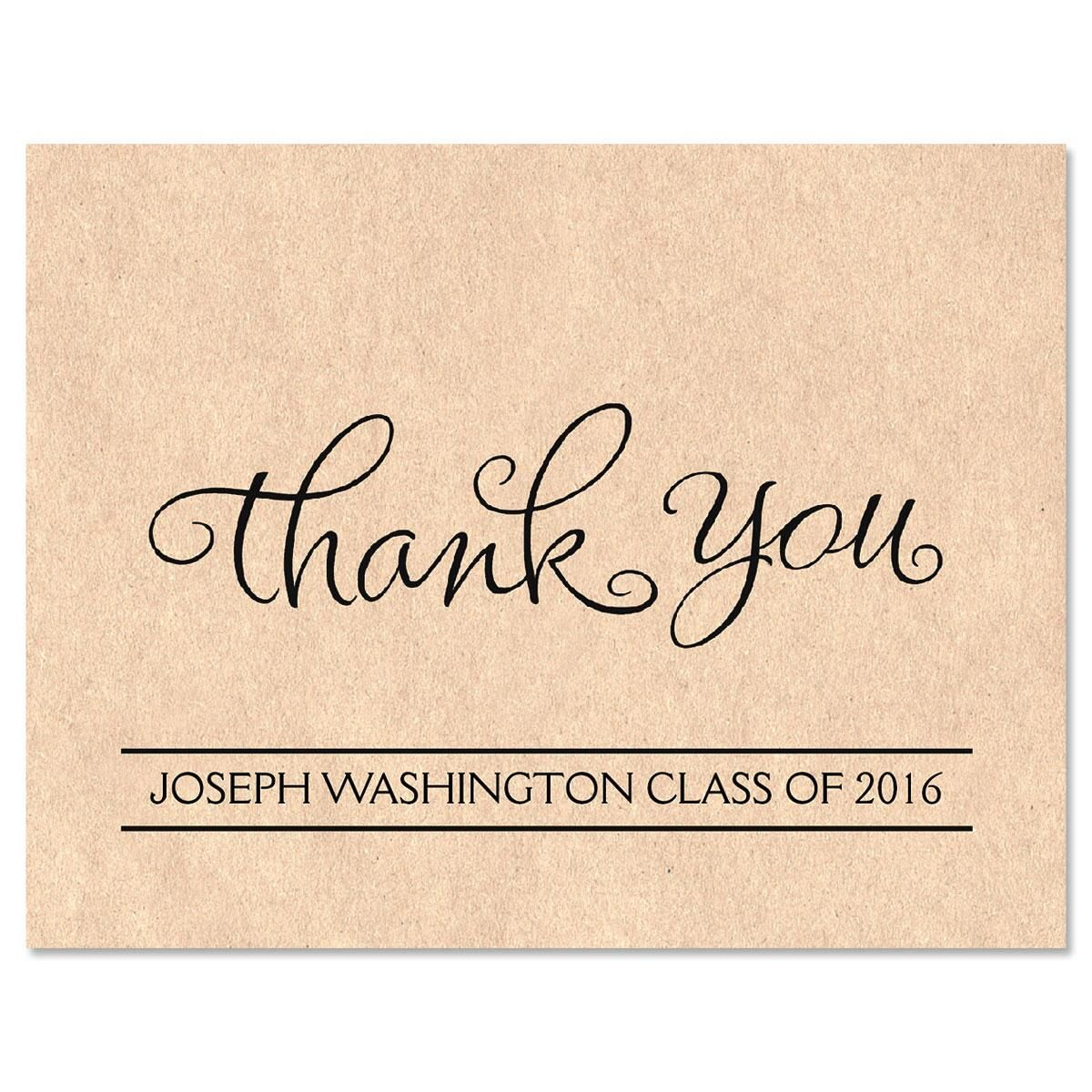 Kraft Graduation Thank You Note Cards