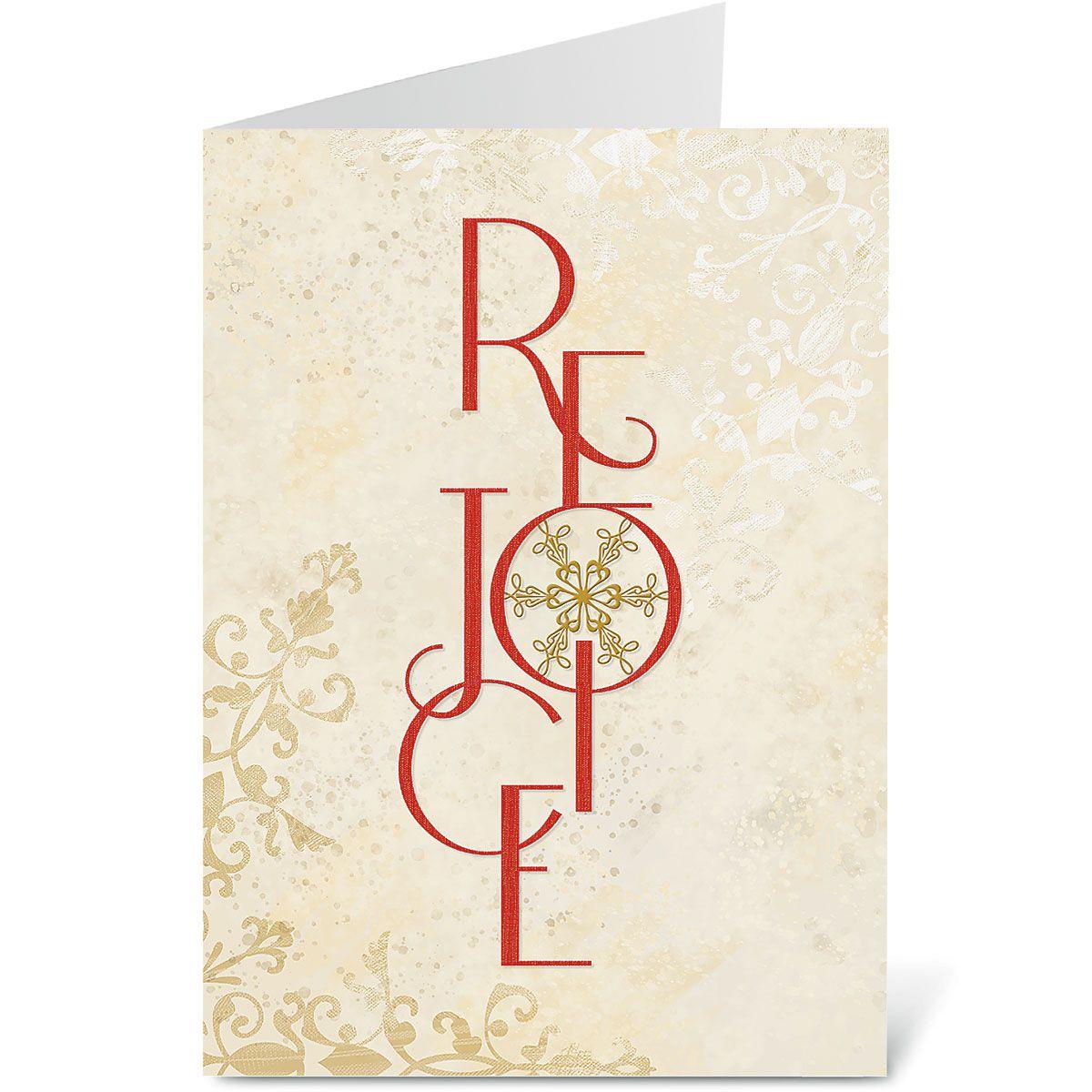 Rejoice Snowflake Religious Christmas Cards