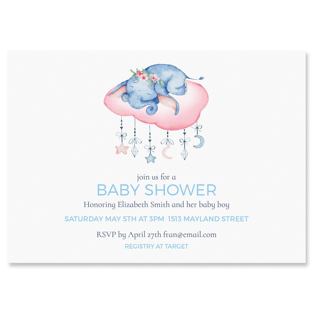 Sleepy Elephant Shower Invitations