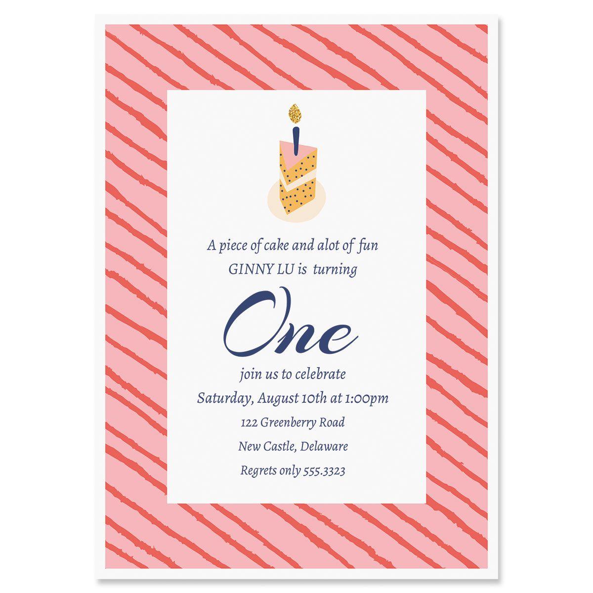 Piece of Cake Birthday Invitation