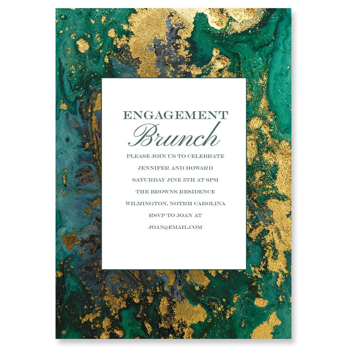 Emerald & Gold Agate Invitations