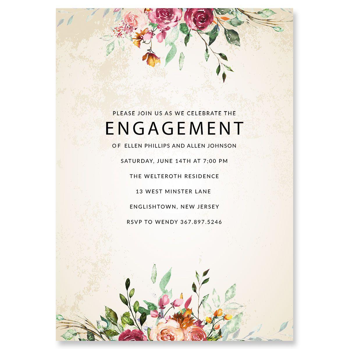Fresco Floral Engagement Invitations